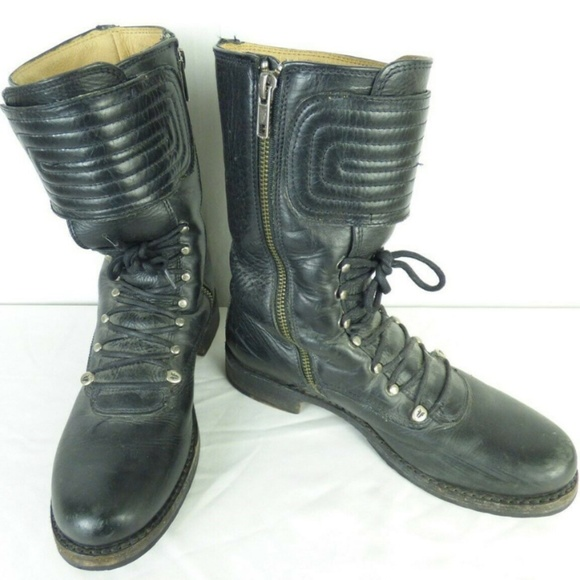 Frye Shoes - FRYE Veronica Motor Cross Leather Lace Zip Boot 8